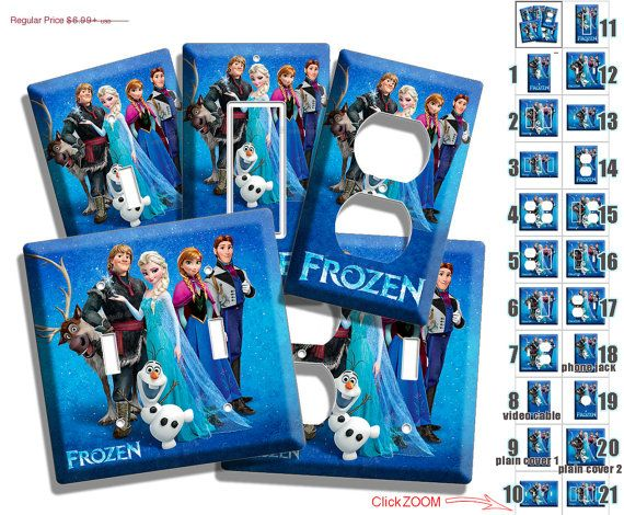 HOLIDAY SALE Disney frozen Princess Anna Elsa Hans Olaf Kristoff light switch outlet cover plates children's bedroom leaving room decoratio on Etsy, $5.94