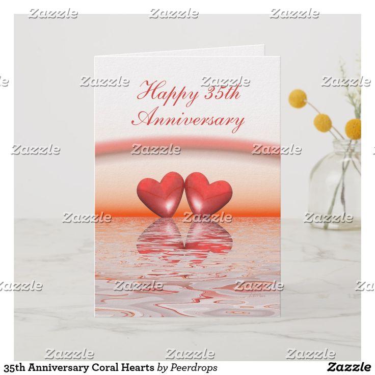 35th anniversary coral hearts card heart
