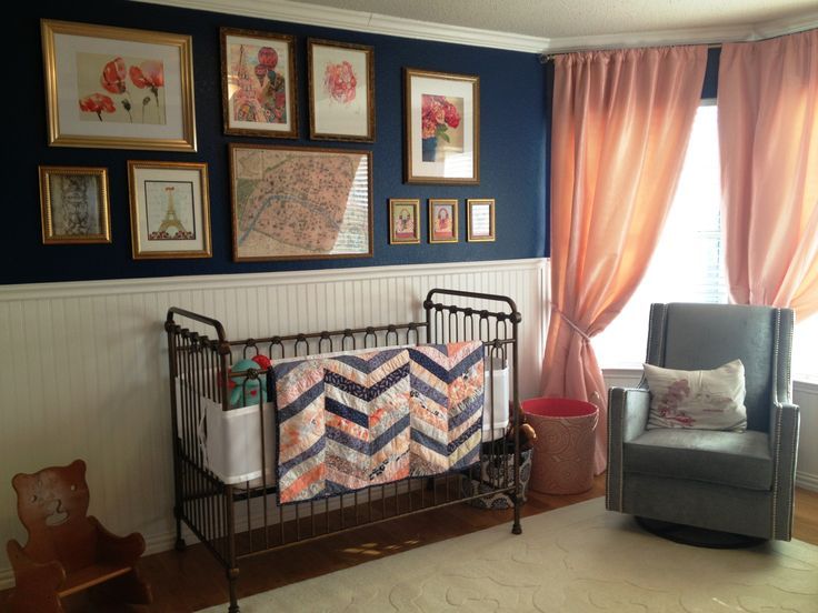 Pink coral and navy blue nursery with French accents... just waiting on my crib skirt to arrive!