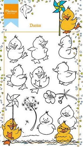 Marianne Design - Clear stamp - Ducks Just a Note - Hobby webwinkel voor scrapbook en kaarten maken
