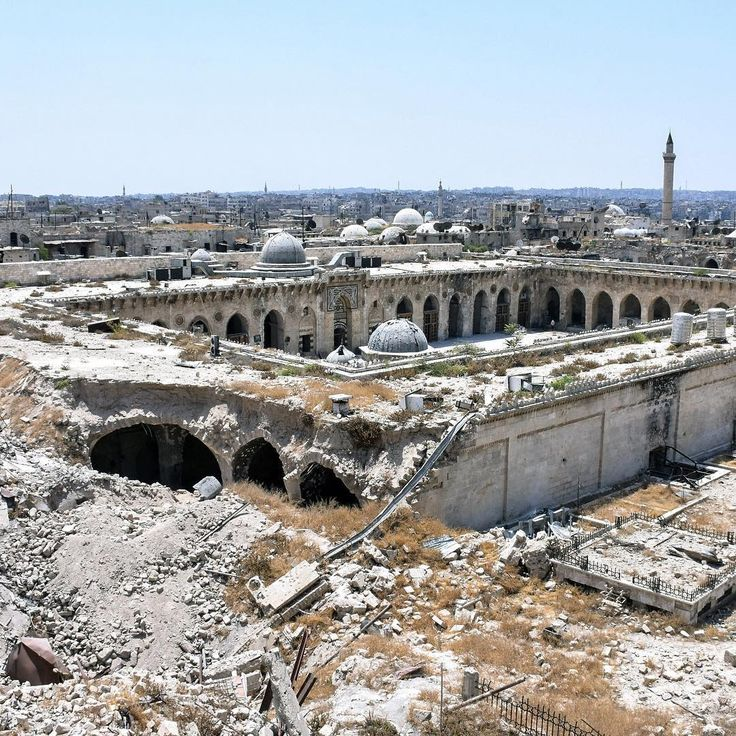 "An overview of the destruction at the Great Umayyad Mosque in Aleppo on July 22, 2017. Aleppo was recaptured by forces loyal to Syrian President Bashar Assad in December 2016 after a years-long battle with opposition forces that left tens of thousands dead and destroyed a significant portion of the city.⠀ ⠀ UNESCO said in January that about one-third of Aleppo was destroyed during the war. ""Extensive damage"" was cited at Great Umayyad Mosque, the Citadel and other historic structures.⠀ ⠀…"