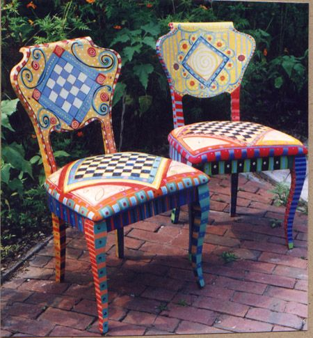 Sarasota, Fla., artist Pam Marwede upcycles old chairs by painting them in brilliantly colored patterns. They like something the Mad Hatter would have had at his tea party. @Pamela Hichens Marwede #furniture #hand-painted furniture