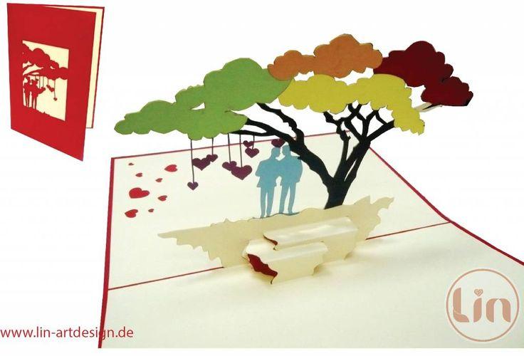 Aufklappbare Hochzeits-/Liebeskarte für homosexuelle Männer mit bunten Bäumen.  Mehr entdecken auf: www.lin-popupkarten.de