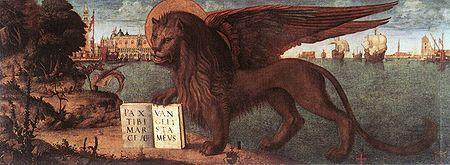 Leone di San Marco con il Vangelo aperto è il simbolo Venezia duarente i periodi di pace