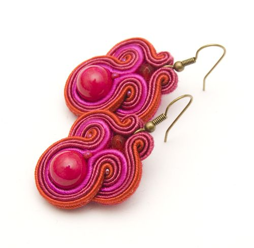 fuchsia soutache earrings