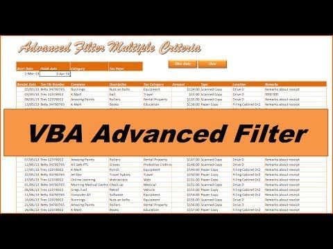 VBA Advanced Filter - Filter any Excel Database 2013 - Advanced Filter any Excel Database with multiple criteria. In this short project we will be demonstrating how you can filter any flat file database with the advanced filter. Particularly we will be looking at doing this with multiple flexible criteria. To automate this process we will be recording the process and developing simple VBA code that we can assign to a button on our worksheet