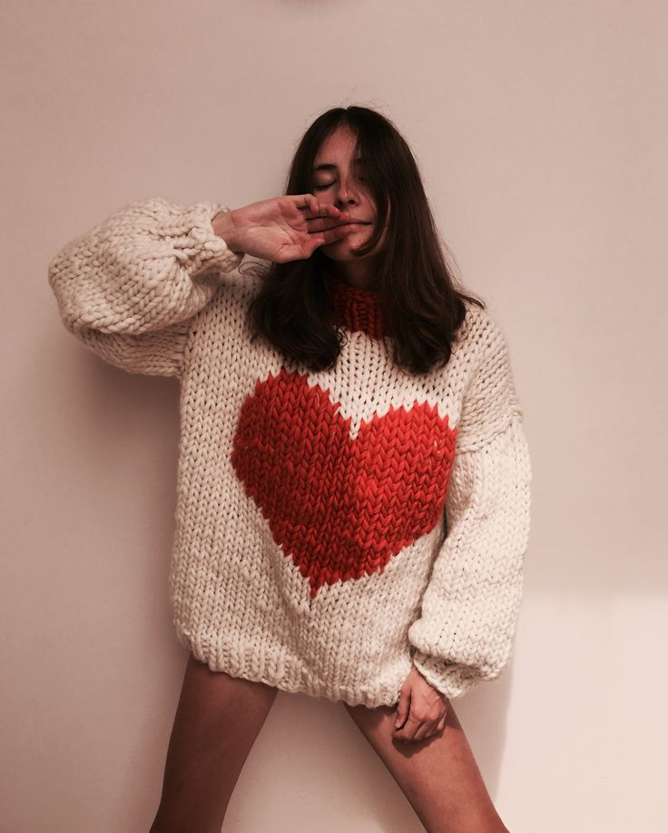 HAPPY HEARTS JUMPER: Pretty much all you need to stay snuggly and smiling through winter. Each piece is oversized (one size fits all) and knitted using one hundred percent, super soft, wool mmmm | The Knitter | makersmgmt.com/shop