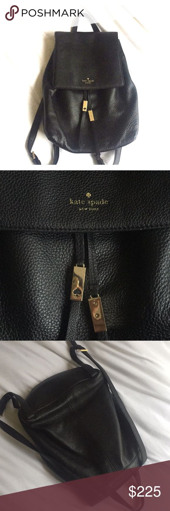 Kate Spade black backpack Gorgeous black backpack by Kate Spade. Brand new (used 3 times) • Gold accents and leather tassels make this practical bag super fun!  • Can fit small laptops  No trades please :) kate spade Bags Backpacks