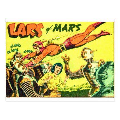 Lars of Mars Fights Robots Postcard - postcard post card postcards unique diy cyo customize personalize