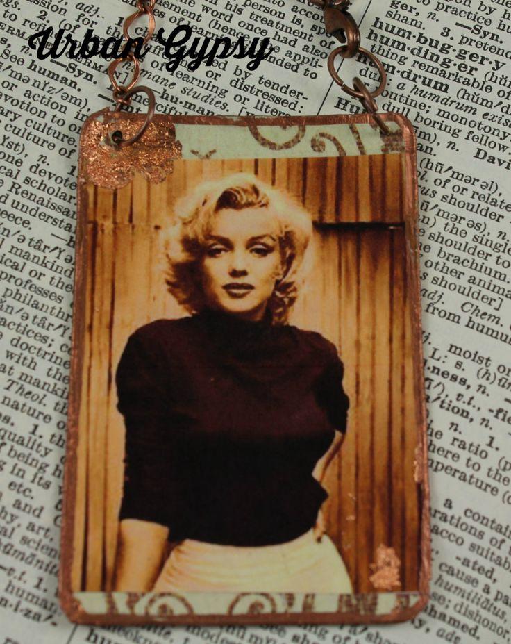 Marilyn Monroe Icon Sex Goddess Movie Star Handcrafted Portrait Hanging Ornament Urban Gypsy Handmade Rear View Mirror Charm by UrbanGypsyIndy on Etsy