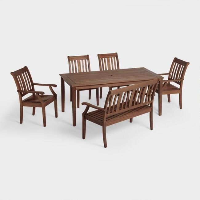 St. Martin Outdoor Dining Collection - World Market - table $279, chair $90, armed chair $200, bench $160 - eucalyptus wood