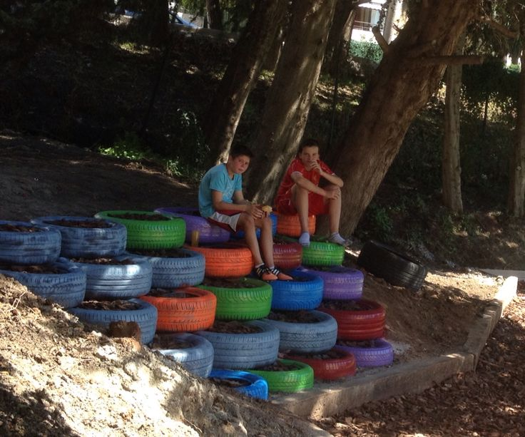 Sitting in the shade on spray painted tyres