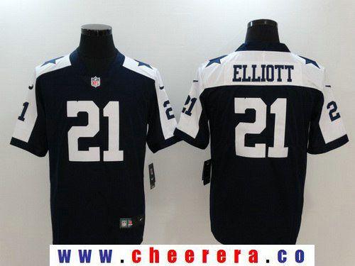Hot Men's Dallas Cowboys #21 Ezekiel Elliott Navy Blue Thanksgiving 2017  free shipping