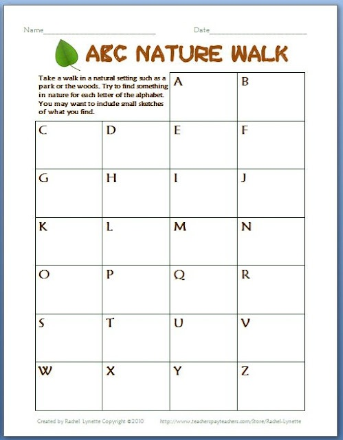 ABC Nature Walk - Perfect for Earth Day! I had students do it over a long weekend (Easter) as a family activity and the kids AND parents loved it.
