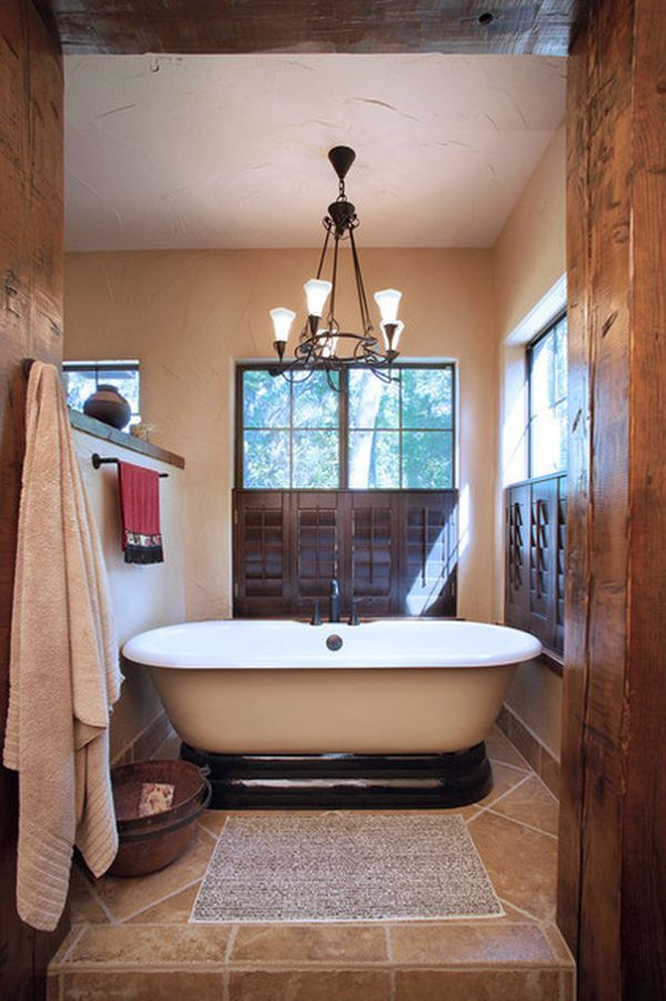 Design a Stunning Spanish Bathroom. Darker wood can be an appealing side to Spanish bathrooms, especially if you are designing a vintage room, so choose bathroom cabinets or wooden shutters in dark, polished wood. This calls to mind rural Spain