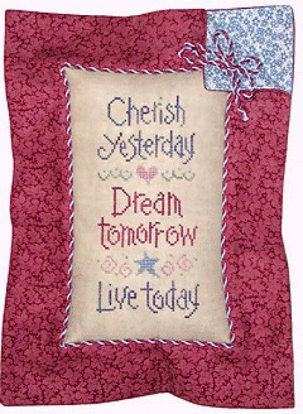 Cherish Dream Live is the title of this cross stitch pattern from Lizzie Kate (photo shows the finish as pillow) that is stitched with Gentle Art Sampler threads (Blueberry, Claret, Cornflower, Evergreen and Highland Heather).