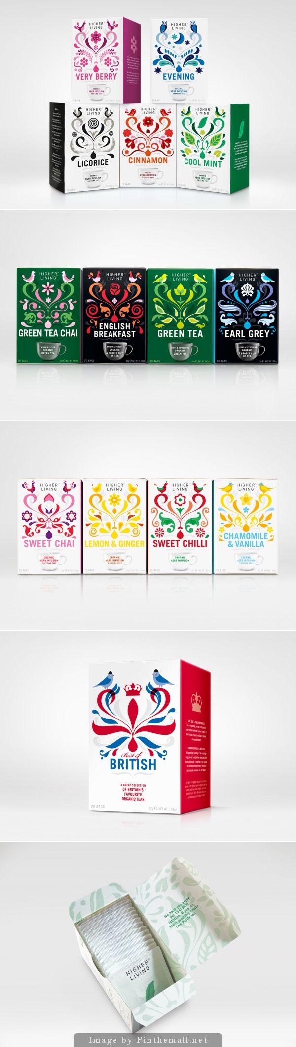 Higher Living Tea packaging designed by B&B Studio   BP&O