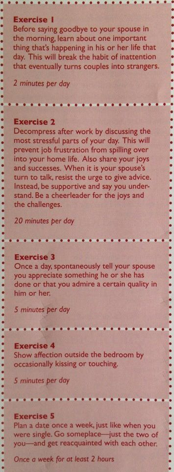 Five Daily Exercises That Build Strong Marriages / Intimate Relationships.
