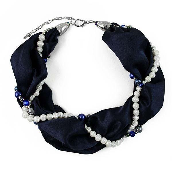 Šála s bižuterií Eleonora 299el001-36a - tmavě modrá - Bijoux Me! - bižuterie, šály a šátky
