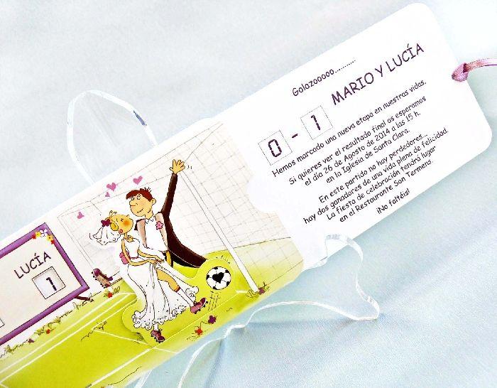Tarjetas para matrimonio - fútbol, Detalles originales y regalos de boda baratos - Invitaciones de boda y alfileres de novia