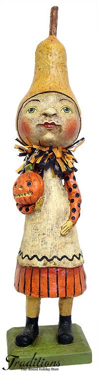 """2011  GOURD GIRL  (Debra Schoch For Bethany Lowe!)   Paper pulp with crepe and glitter accents 13.75x3.25""""  #HH0162  U$42.99"""