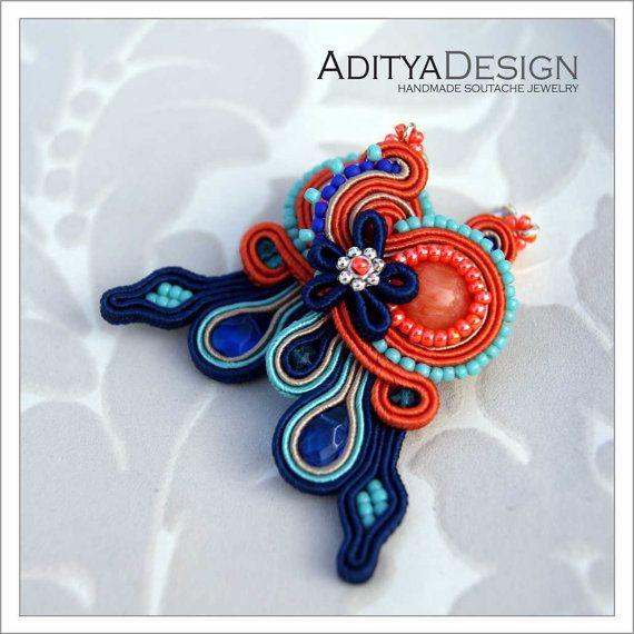 Soutache Earrings Orange Blue Handmade Jewelry by AdityaDesign