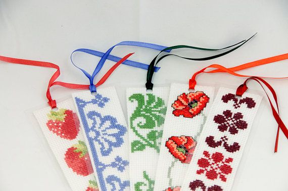 Cross Stitch Pattern Purple Motif Bookmark by by ogusstudio