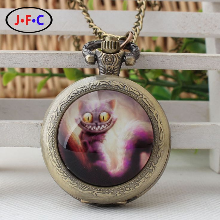 "Classic Arabia Digital Pocket Watch ""Alice in Wonderland"" - the Cheshire cat time gem patch quartz pocket watch"