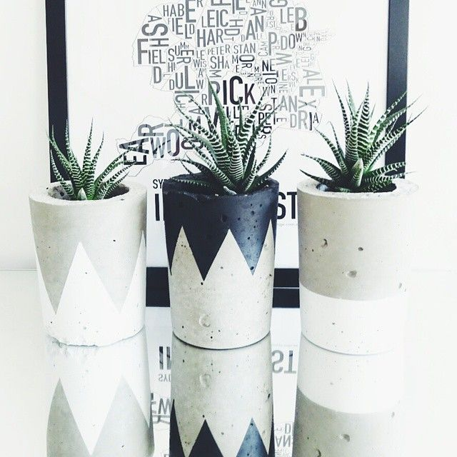 """These two white concrete pots are still in stock at Metal + Dust Studio. To enquire please email metalduststudio@gmail.com thanks. All uniquely hand made…"""