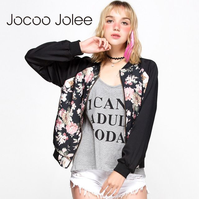 Amazing Deal $15.17, Buy Jocoo Jolee Apparel Color Block Women Jacket Coat Casual Floral Embroidery Loose Female Bomber Jacket Streetwear Tops For Ladies