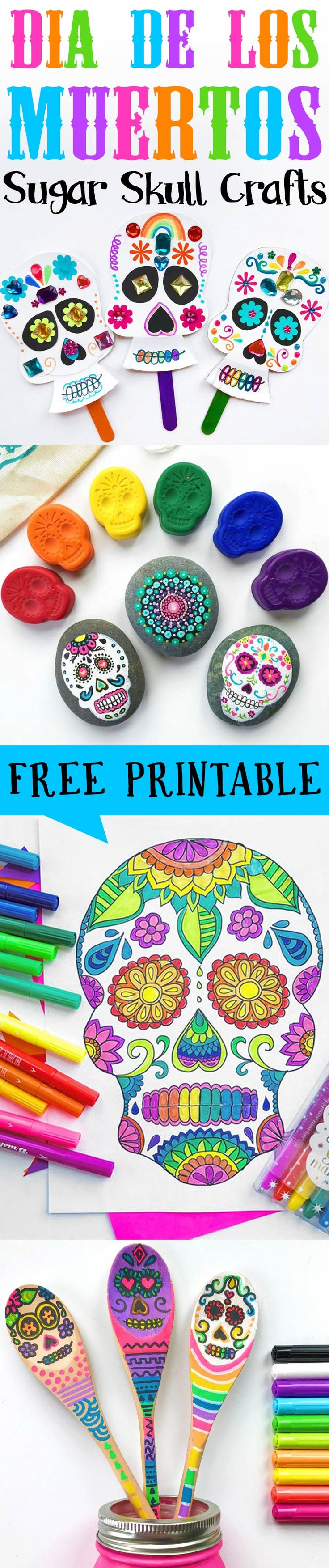 So many fun sugar skull crafts for Day of the Dead and love the free coloring page.