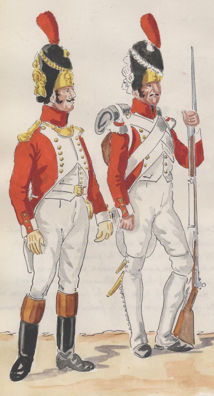 Ufficiale dei granatieri e granatiere di un rgt. di fanteria del Regno di Napoli