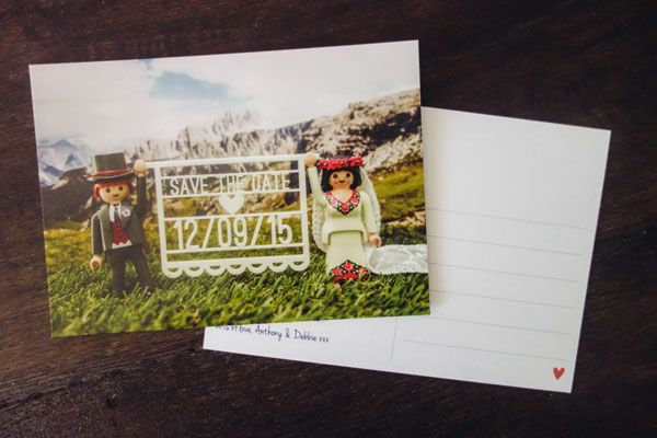 My wedding stationery :  Playmobil save the date postcards