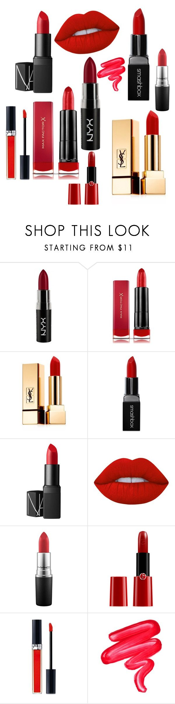 Red Fall Lipsticks featuring beauty, Yves Saint Laurent, Max Factor, Smashbox, Lime Crime, Christian Dior, NARS Cosmetics, NYX, Giorgio Armani and MAC Cosmetics *affiliate link included