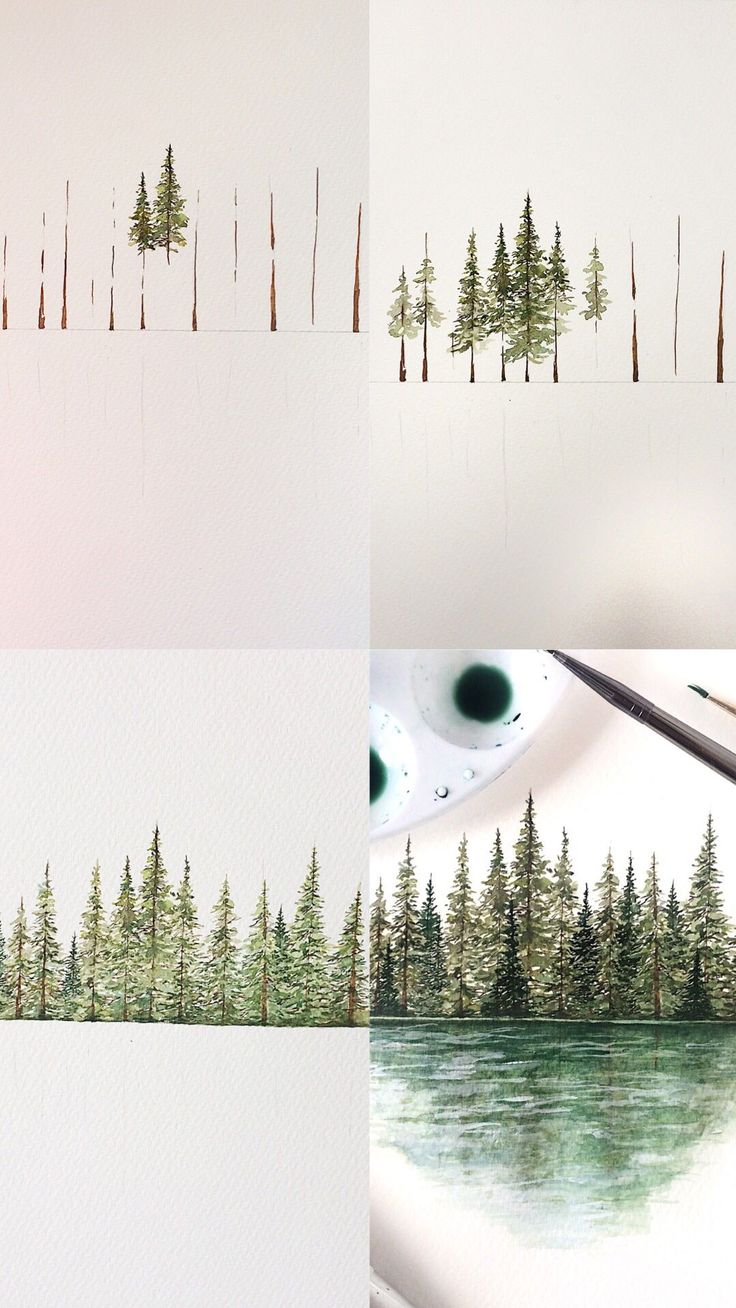 Mini tutorial of some pine trees with step by step process photos #tutorial #art…
