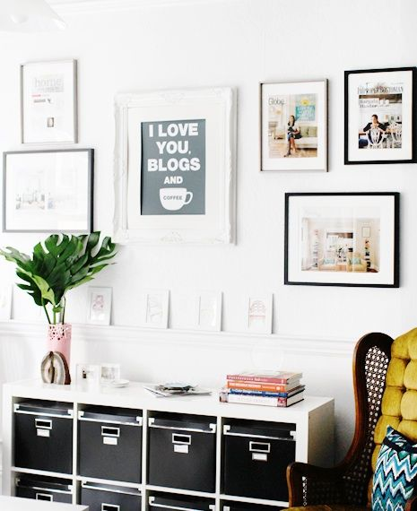 Suzie: The Every Girl - Erin Gates Interiors - Chic office with art gallery, Ikea Expedit ...