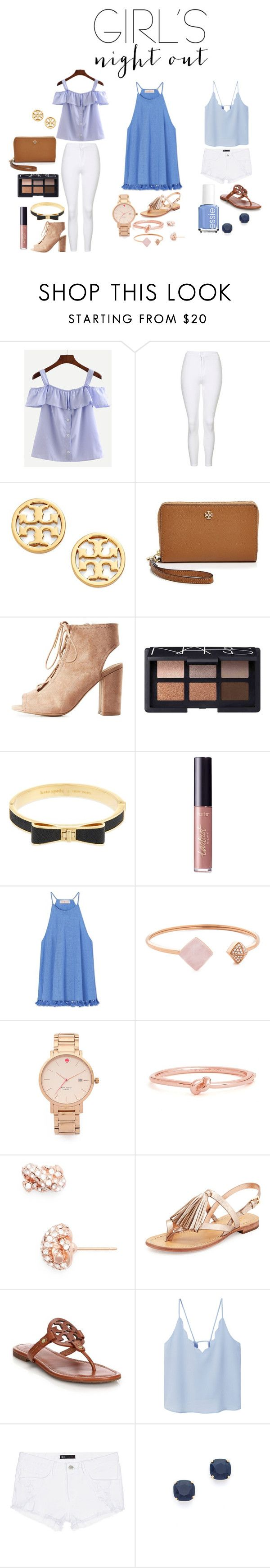 """GNO!!!"" by kkfischer ❤ liked on Polyvore featuring Topshop, Tory Burch, Qupid, NARS Cosmetics, Kate Spade, tarte, Michael Kors, MANGO, 3x1 and Essie"