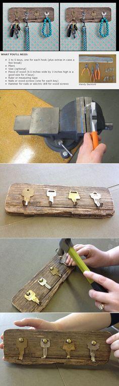 Aprovechando las llaves perdidas. Llavero  =  Llaves + madera recuperada http://static.wordever.com/we/file/000/159/022/159022-1365789373121.png