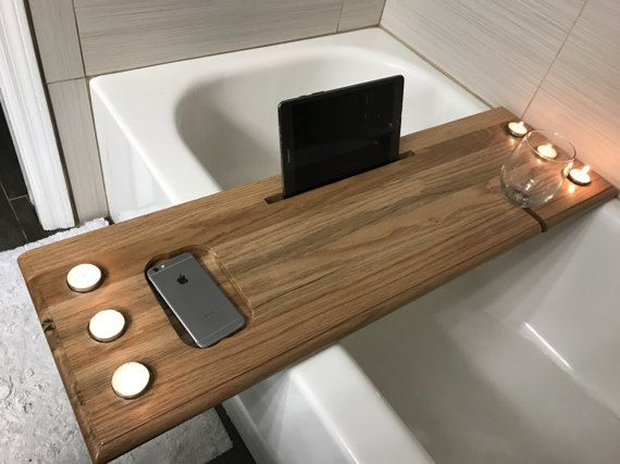 **MOMS2017 coupon code for $15 off your purchase**  **Make sure to see our shop**  Beautiful solid oak bath tub caddy. For all those bath lovers who want to bring all their conveniences with them while they soak.  This is fully customizable, from the tablet holder, to the candle holders, cell phone holder etc. even ask if you would like a wine glass or beer can holder.  This a hard wood and sealed with 3 coats of polyurethane so no worries when it comes to getting wet.  The color in the pics…