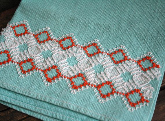 Vintage tangerine and turquoise tea towel