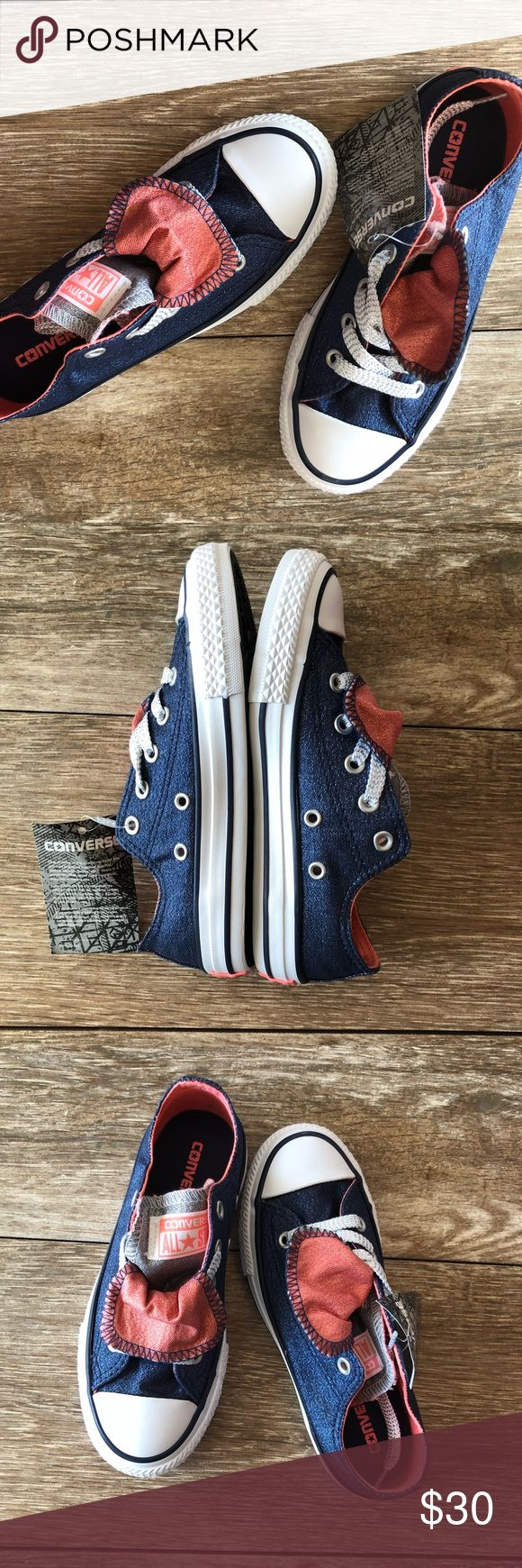 NIB Converse Converse Double Tongue Sneaker NIB & w/tags Converse Chuck Taylor All Star Double Tongue Sneakers, Size 13. Color:Midnight Navy with Sunblush and white. Colors have a sparkle ✨or shimmer to them. Textile upper & lining & rubber outsole. Converse Shoes Sneakers