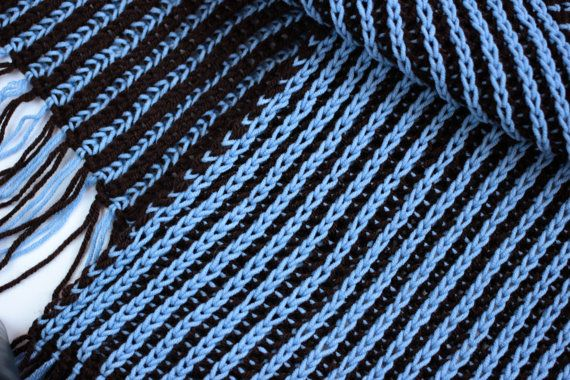 "Scarf 2-in-1 ""Blueberry chocolate"". Two-tone scarf. Double-sided scarf. Wool and acrylic. 21cm x 173 cm"