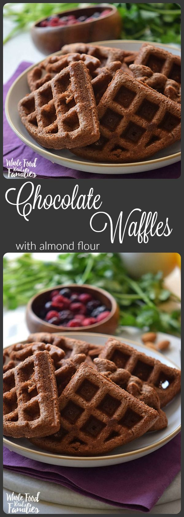This Chocolate Waffle Recipe is rich and decadent - but still healthy enough for breakfast. It is even gluten-free if that a requirement. For those of us who eat without restrictions, the almond flour gives these Chocoalte Waffles a wonderful, rich flavor. A tip, make these ahead and freeze for those early mornings when you just can't manage breakfast any other way. @wholefoodrealfa