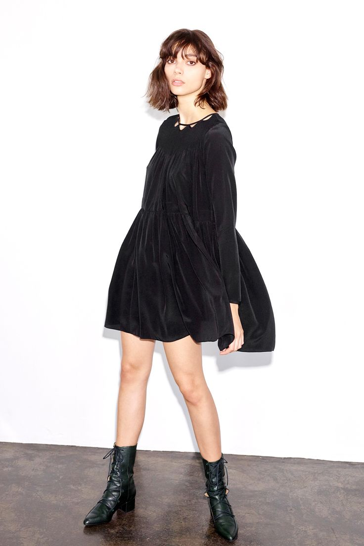 Thakoon Silk Babydoll Dress + lace-up boots = dream fall outfit. #ad