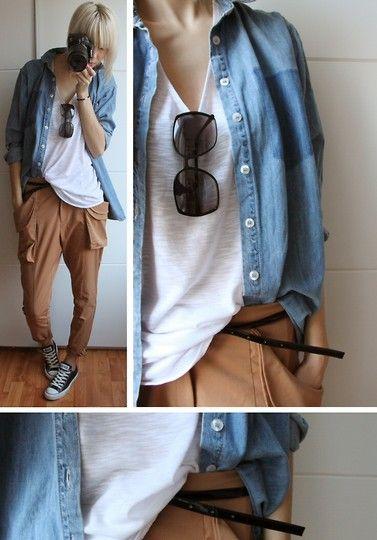 Monki Denim Shirt, H Trend Hareem Pants, Monki Sheered Tanktop, H Sunglasses