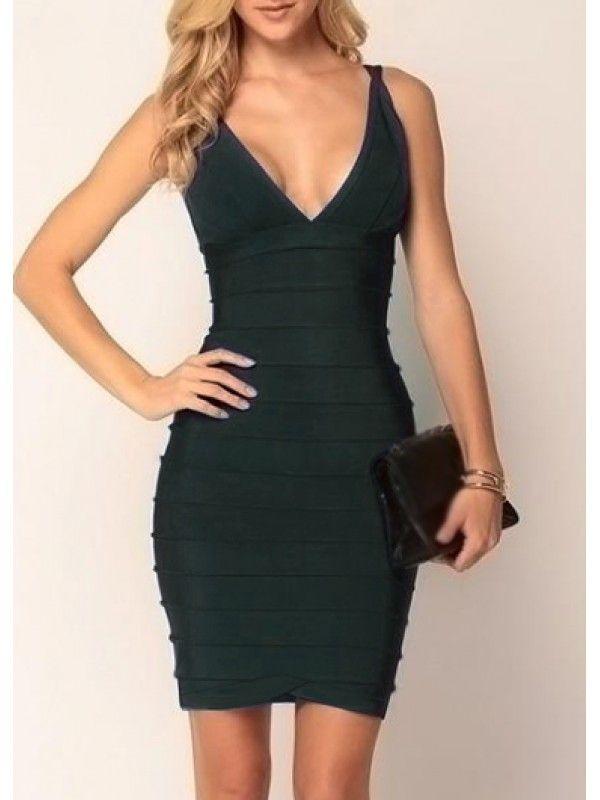 Modern Dresses: Fashionable V Neck Sleeveless Mini Dress Green for women