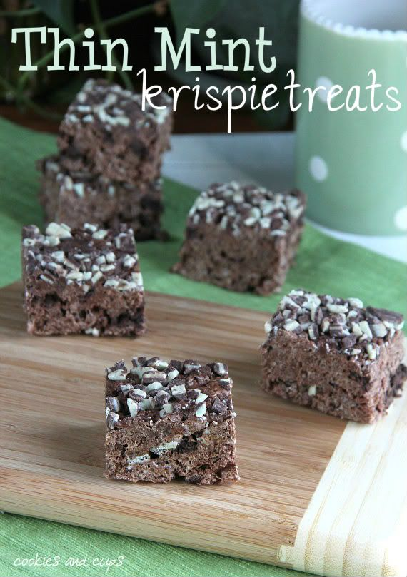 Thin Mint Krispies: 1/4 c. butter- 6 c. mini marshmallows- 7 c. Cocoa Pebbles- 24 Thin Mints or (Keebler Grasshoper cookies coarsely chopped- 2 c. Andes Creme de Menthe baking chips, divided...