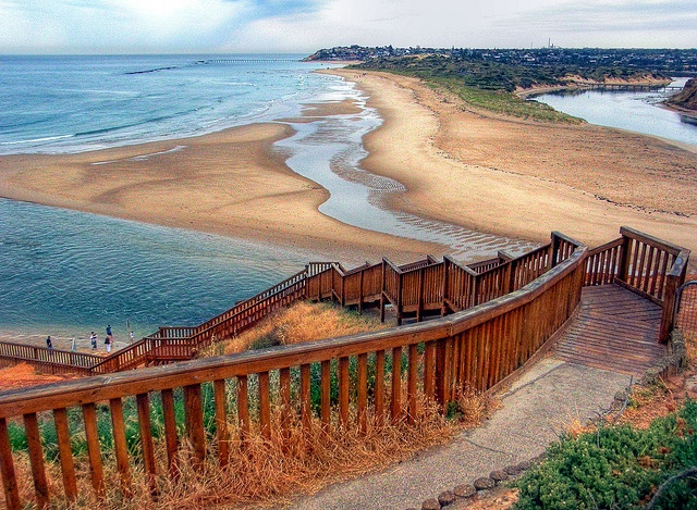 Stairway to the Beach, at the mouth of the Onkaparinga River , South Australia