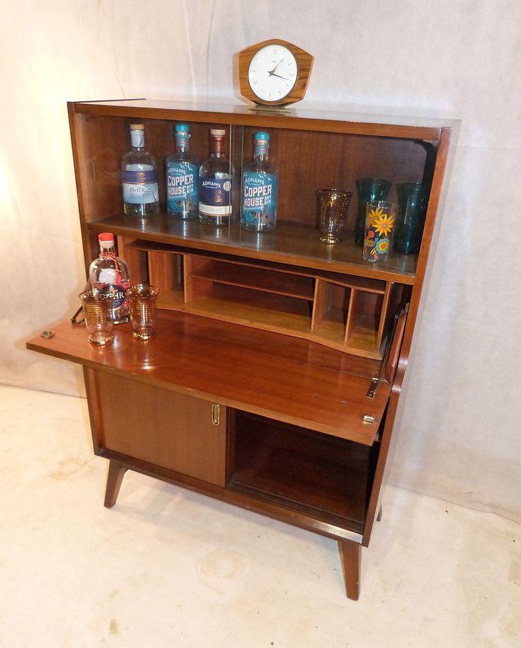 VINTAGE DRINKS CABINET / BUREAU RETRO BEAUTILITY TEAK SIDE