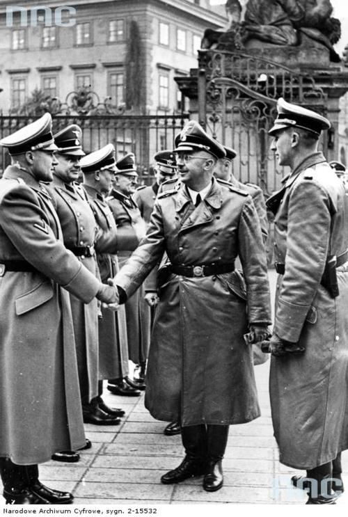 Heinrich Himmler visiting Prague, Czechoslovakia following Reinhard Heydrich's appointment as Protector of Bohemia and Moravia in 1941